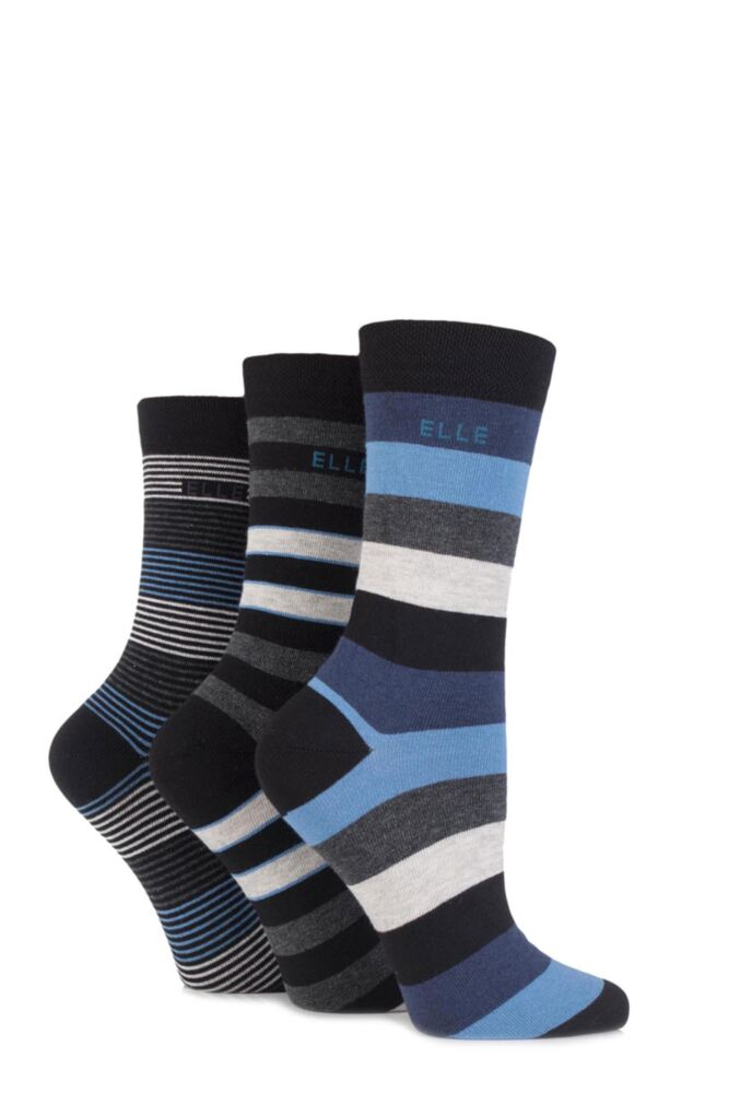 Ladies 3 Pair Elle Striped Cotton Socks