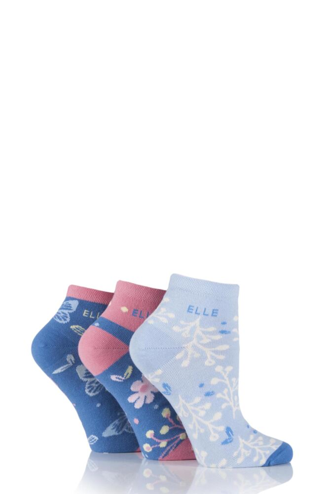 Ladies 3 Pair Elle Patterned Cotton Anklets