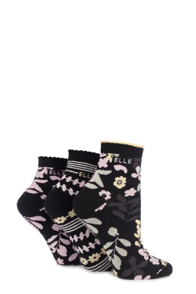 Ladies 3 Pair Elle Patterned Cotton Anklets