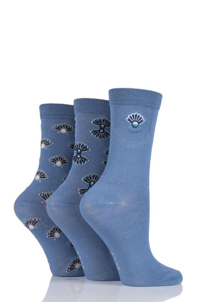 Ladies 3 Pair Elle Art Deco Bamboo Socks
