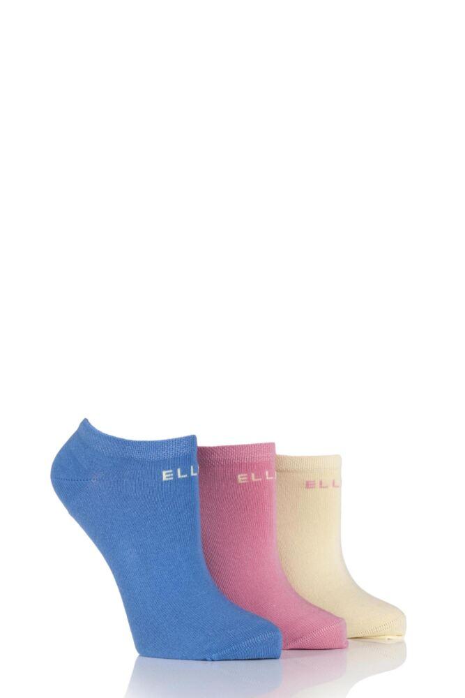 Ladies 3 Pair Elle Plain Cotton No-Show Trainer Socks