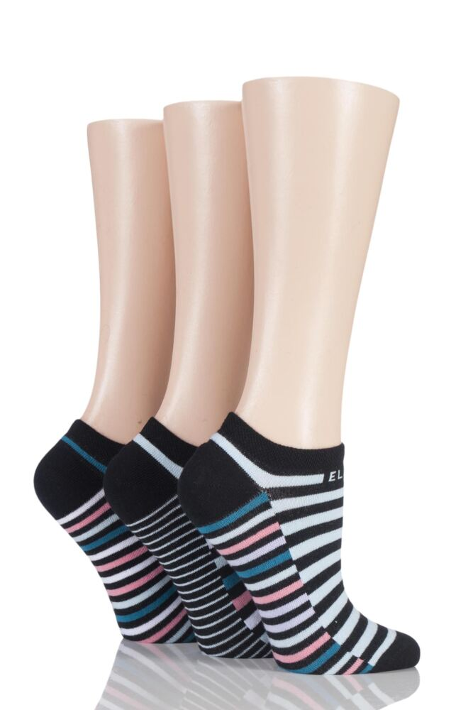 Ladies 3 Pair Elle Striped Cotton No Show Socks
