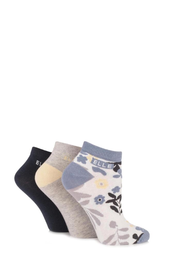 Ladies 3 Pair Elle Patterned Cotton Trainer Socks