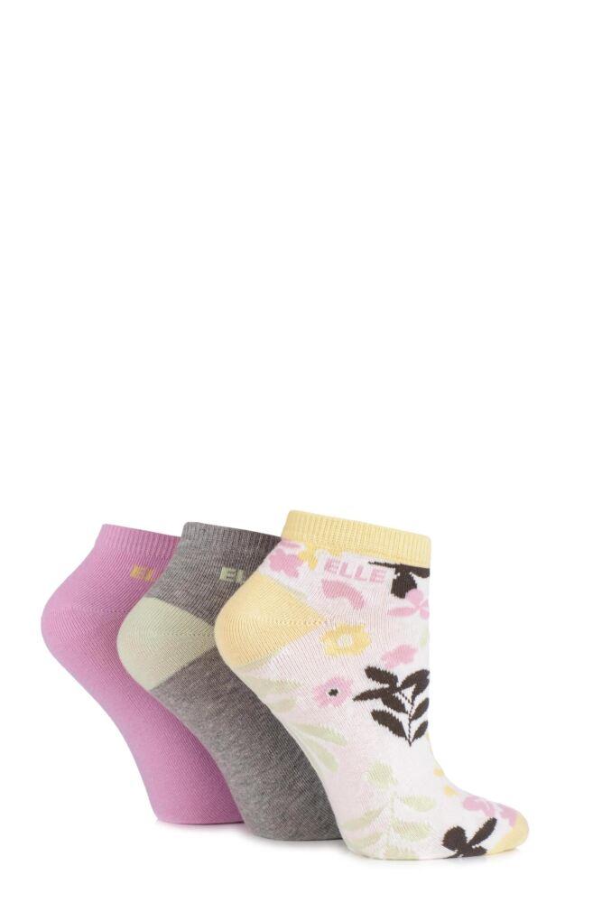 Ladies 3 Pair Elle Patterned Cotton Trainer Socks