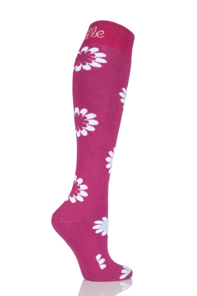 Ladies 1 Pair Elle Patterned Wellie Socks