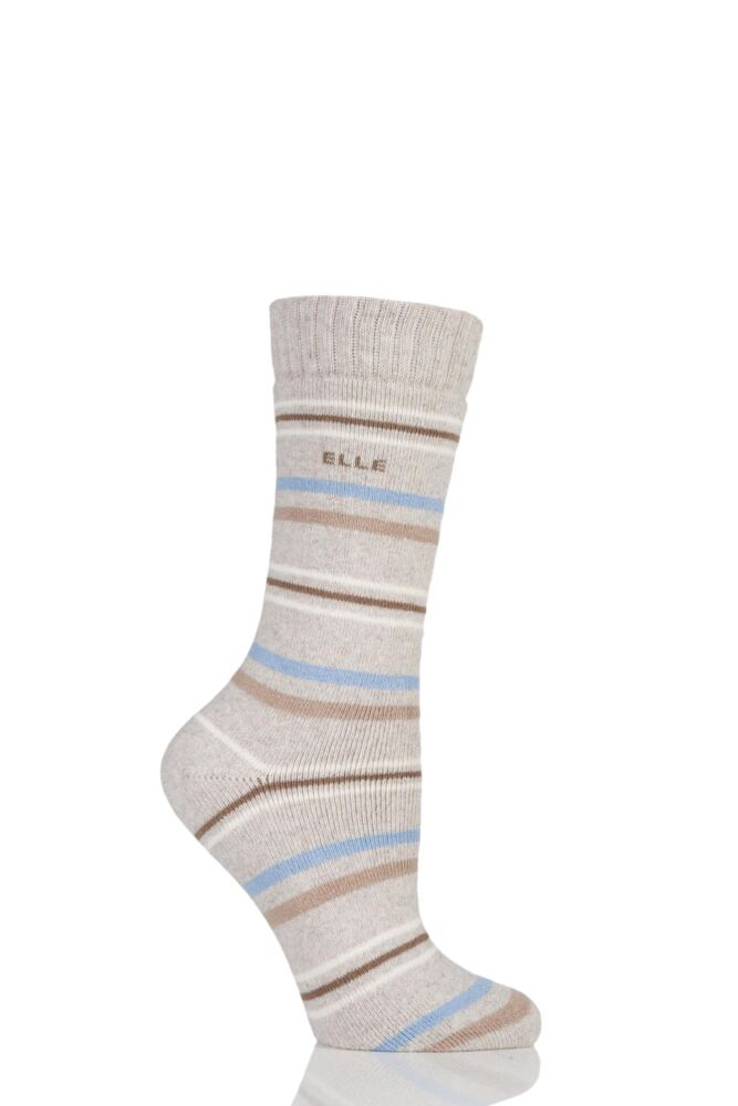 Ladies 1 Pair Elle Wool Blend Striped Winter Boot Socks