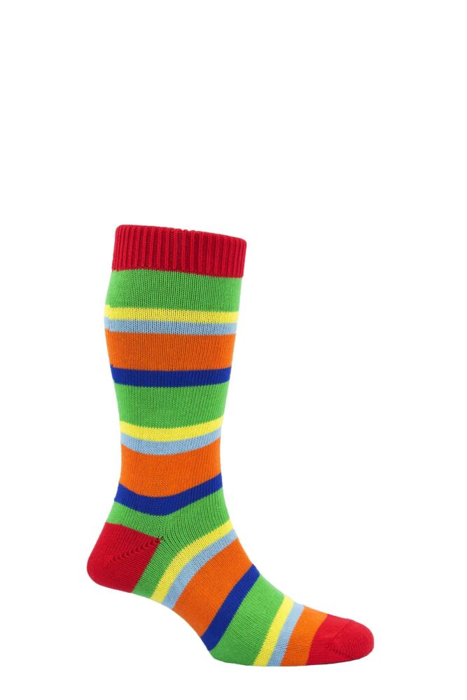Mens 1 Pair Scott Nichol The Hendon 85% Cotton Multi Block Striped Socks