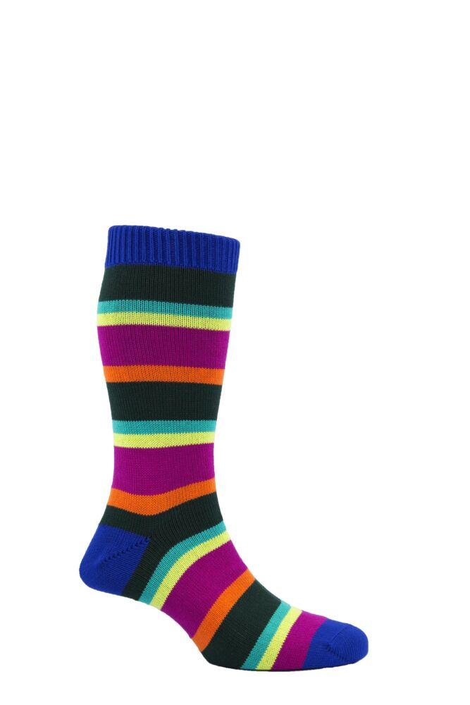 Mens 1 Pair Scott Nichol The Hendon 85% Cotton Multi Block Striped Socks 25% OFF
