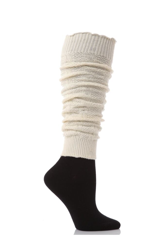 Ladies 1 Pair Elle Fine Cable Knit Leg Warmers