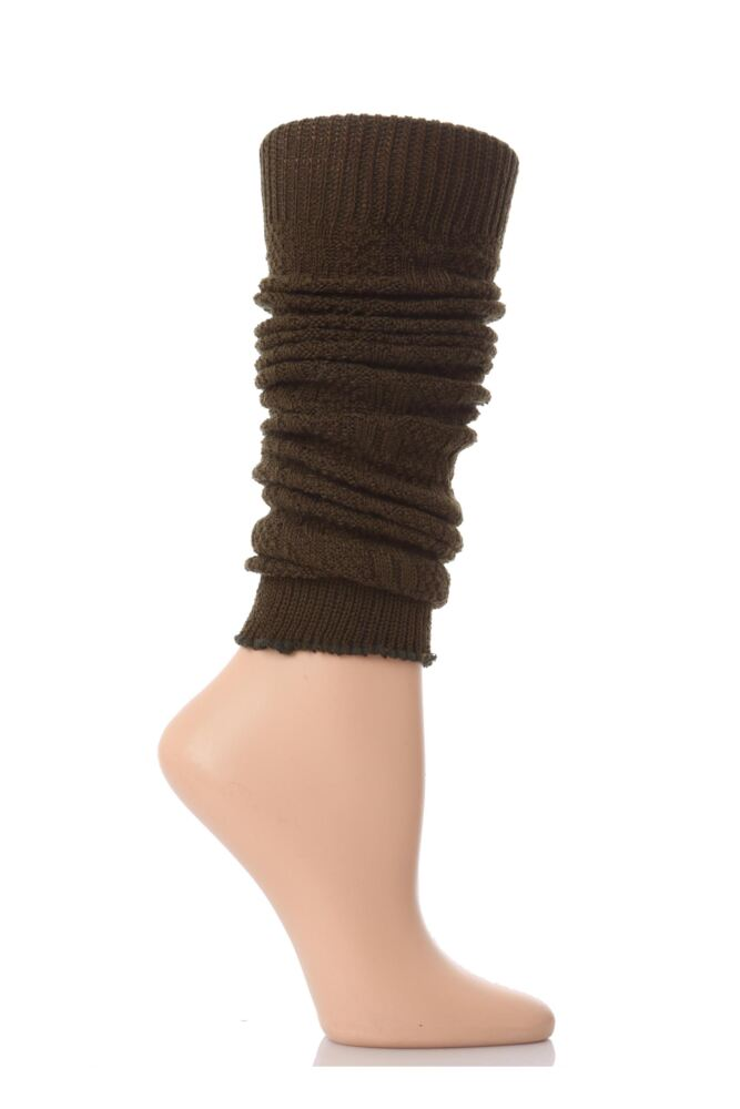 Ladies 1 Pair Elle Fine Cable Knit Leg Warmers Olive - Worth £5.99