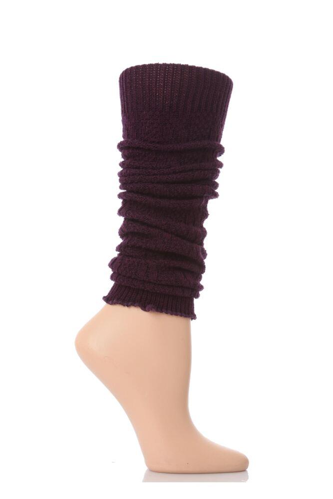 Ladies 1 Pair Elle Fine Cable Knit Leg Warmers Purple - Worth £5.99