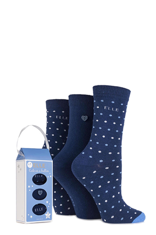 Elle Gift Boxed Cute as a Button Patterned Socks Navy