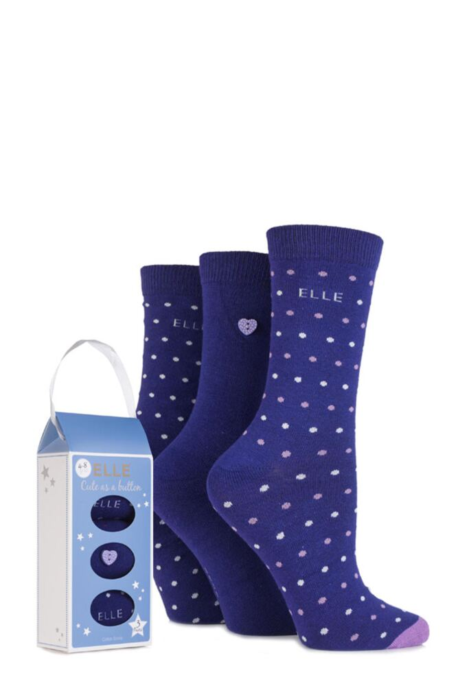 Ladies 3 Pair Elle Gift Boxed Cute as a Button Patterned Cotton Socks