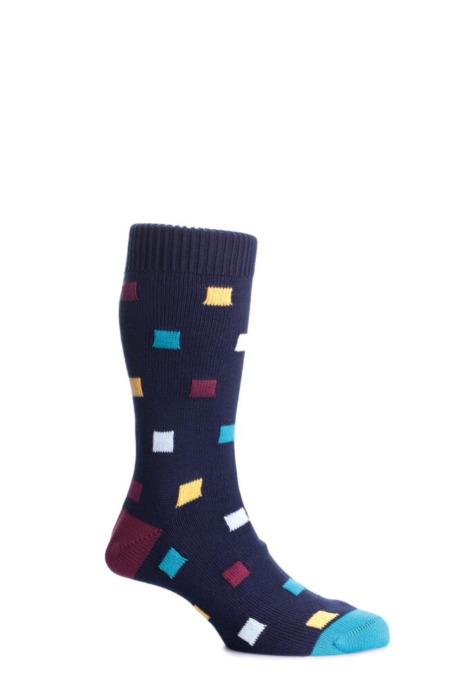 Mens 1 Pair Scott Nichol Bosworth Multi Square Cotton Socks With Contrast Heel and Toe 33% Off