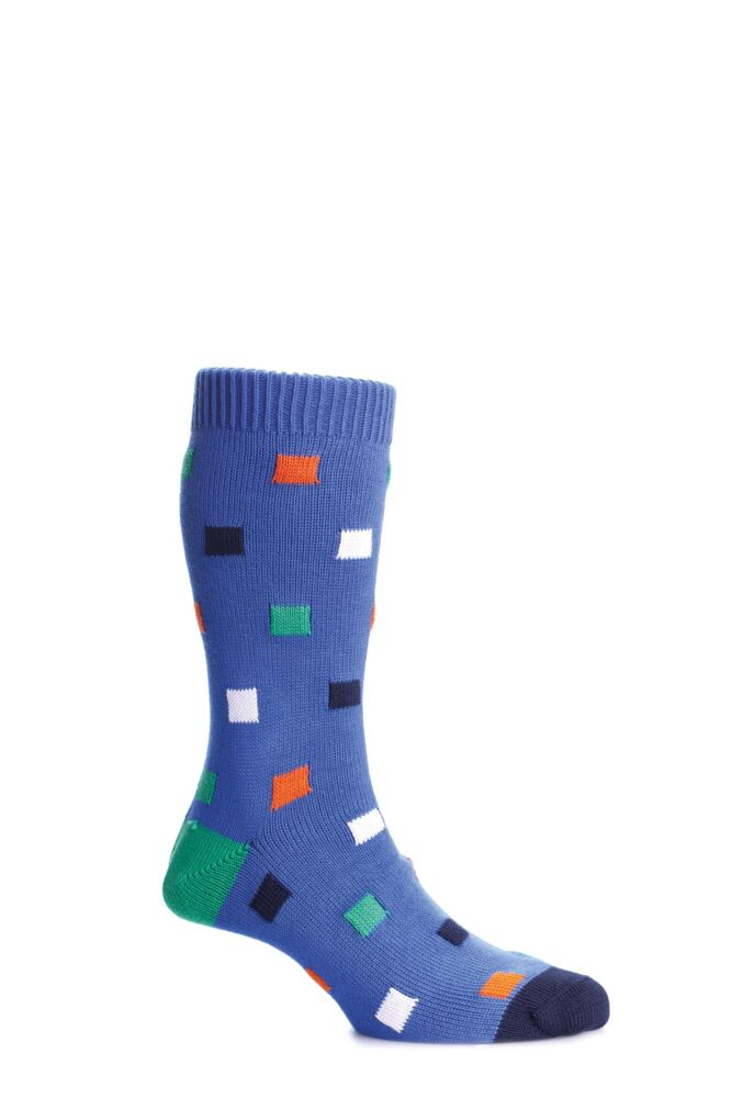 Mens 1 Pair Scott Nichol Bosworth Multi Square Cotton Socks With Contrast Heel and Toe 50% OFF