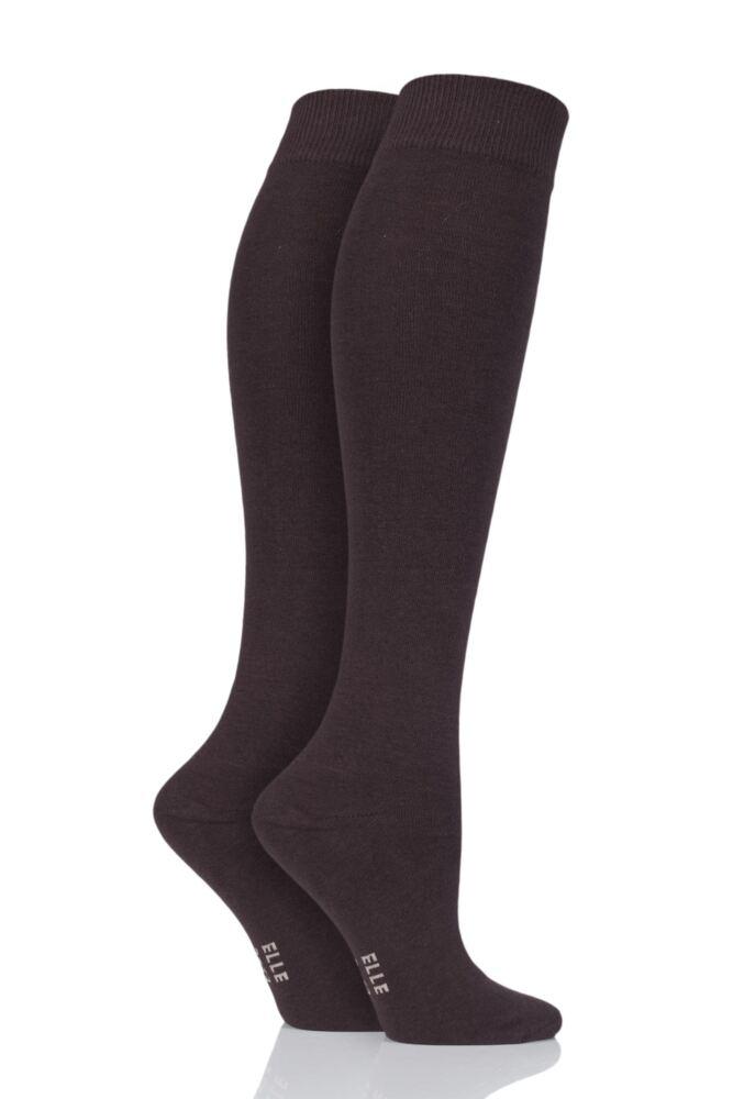 Ladies 2 Pair Elle Plain Cotton Knee Highs