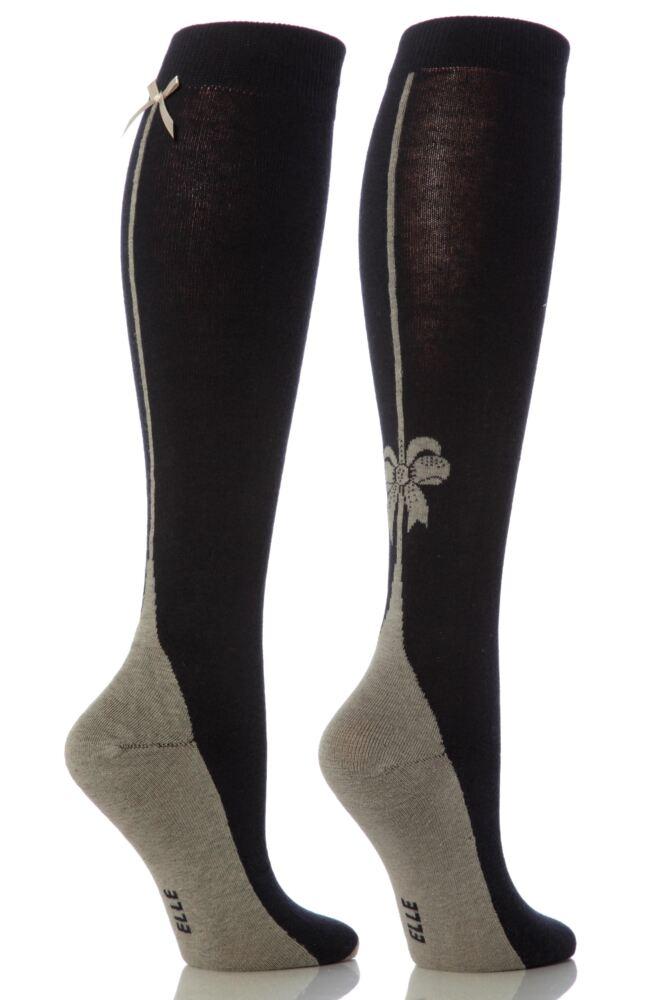 Ladies 2 Pair Elle Back Seam and Bow Design Knee High Socks