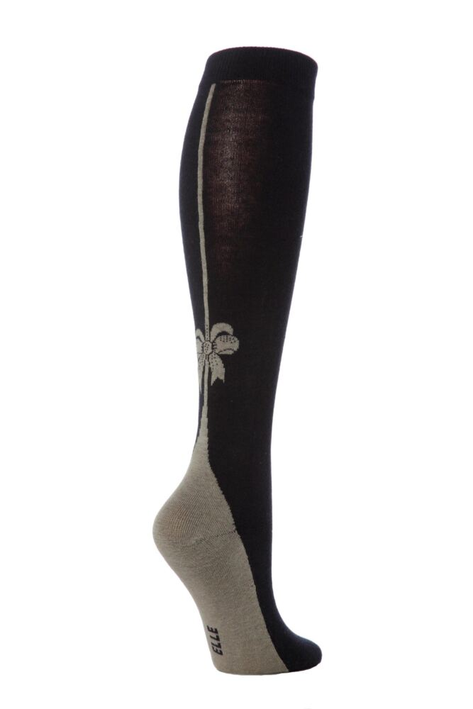 Ladies 1 Pair Elle Back Seam and Bow Design Knee High Socks