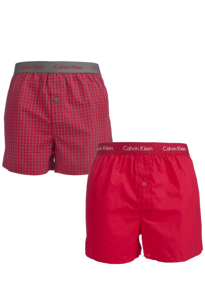 Mens 2 Pack Calvin Klein Cotton Plain and Cheque Woven Boxer Shorts In Red