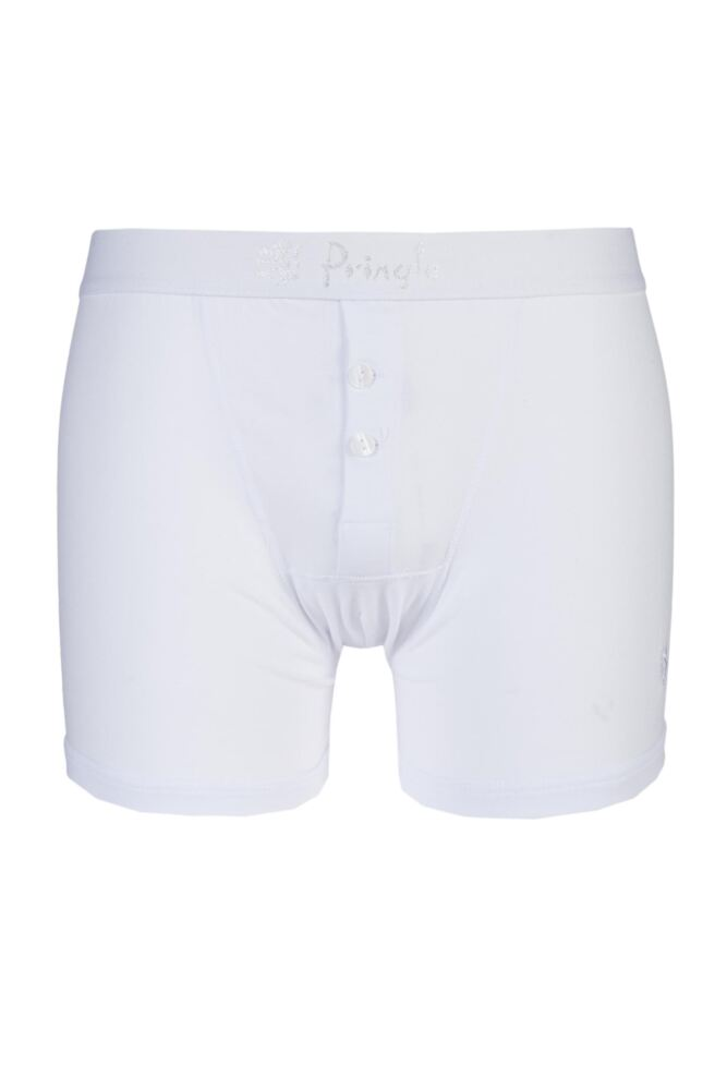 Mens 1 Pack Pringle Button Fly Cotton Fitted Boxer Shorts