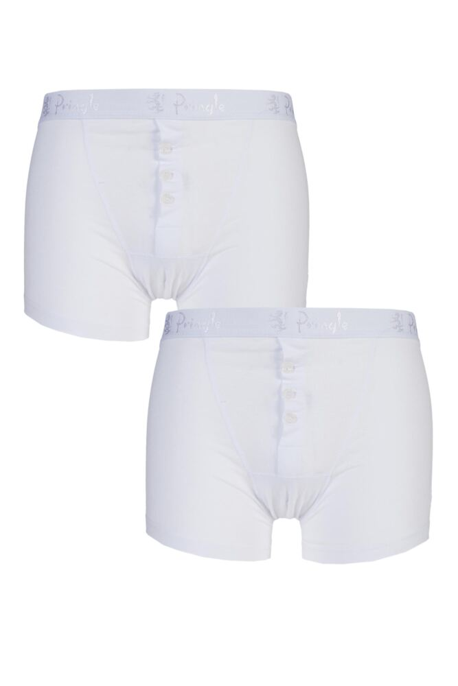 Mens 2 Pack Pringle 3 Button Knitted Cotton Fitted Boxer Shorts