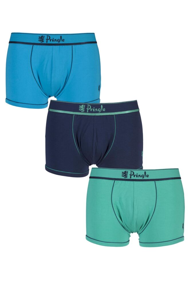 Mens 3 Pack Pringle Edward Fashion Trunks with Contrast Waistband and Binding