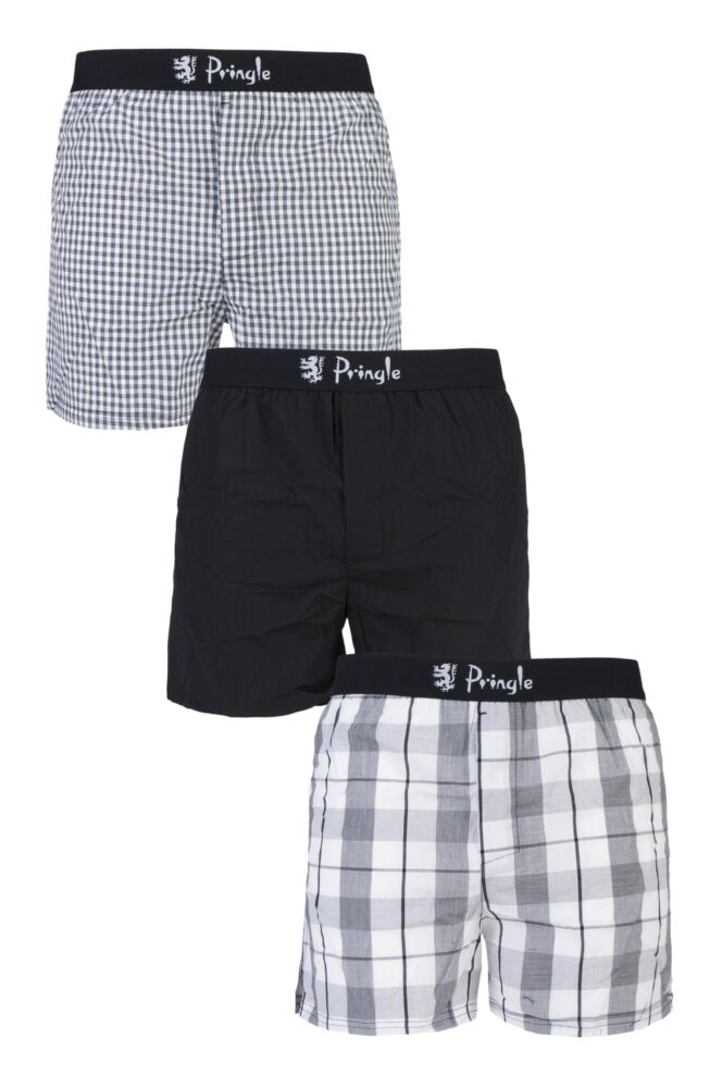 Mens 3 Pack Pringle Check and Plain 100% Cotton Woven Boxers