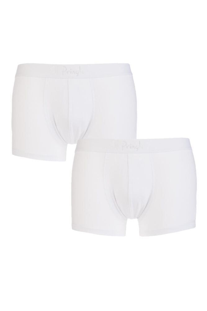 Mens 2 Pack Pringle New Improved Fit Plain Hipster Trunks