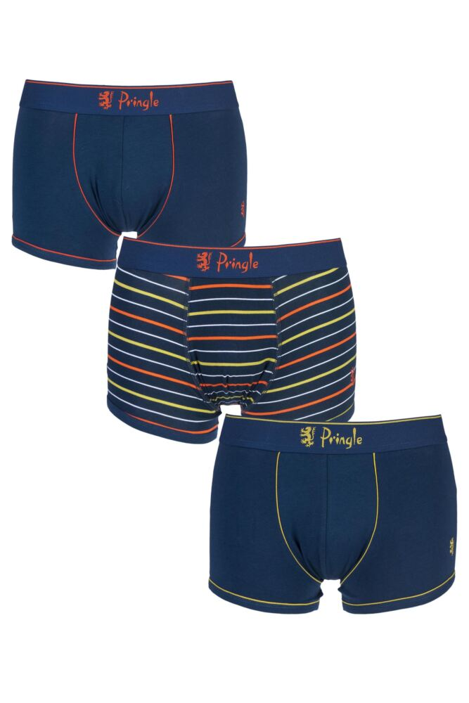 Mens 3 Pack Pringle Richard Plain and Striped Trunks