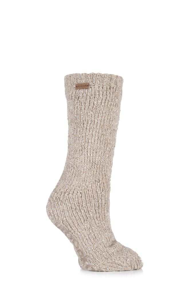 Ladies 1 Pair Urban Knit Ribbon Mohair Blend Slipper Socks 25% OFF