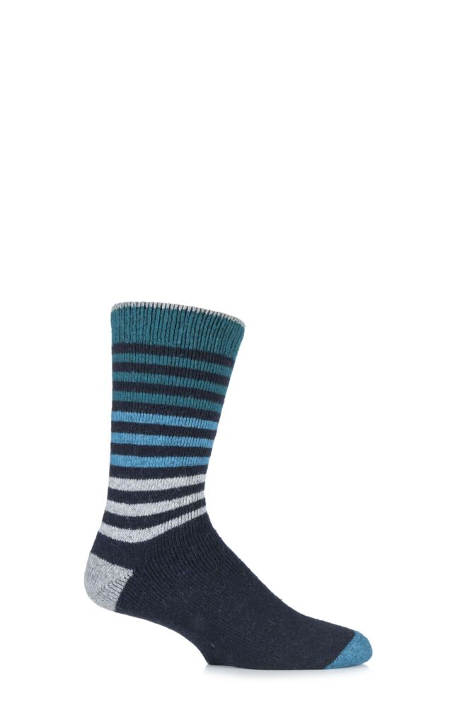 Mens 1 Pair Urban Knit Ombre Striped Wool Blend Socks