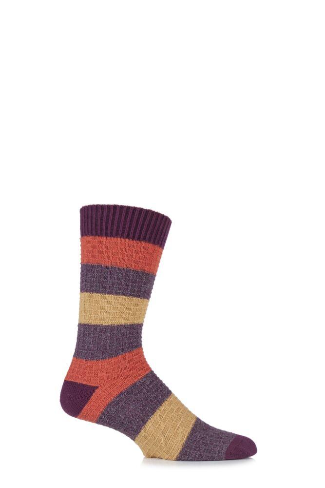 Mens 1 Pair Urban Knit Block Striped Twisted Square Cotton Socks