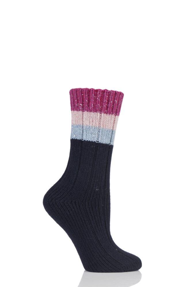 Ladies 1 Pair Urban Knit Shimmer Stripe Wool Boot Socks