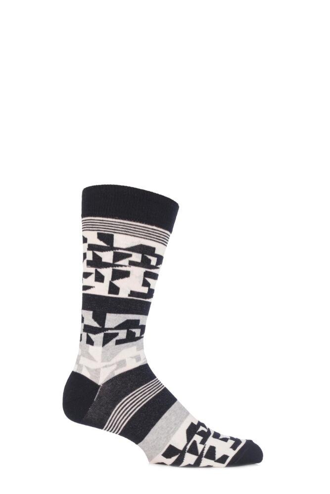 Mens 1 Pair Urban Knit Fun Striped and Geometric Designed Socks 25% OFF