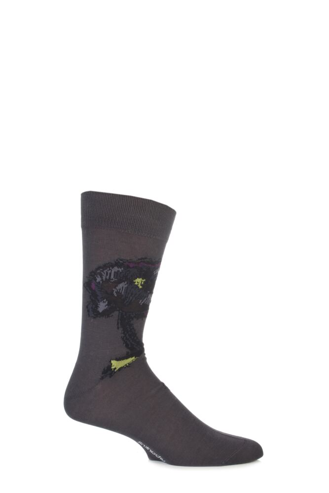 Mens 1 Pair Urban Knit Mercerised Cotton Painted Flower Socks 75% OFF