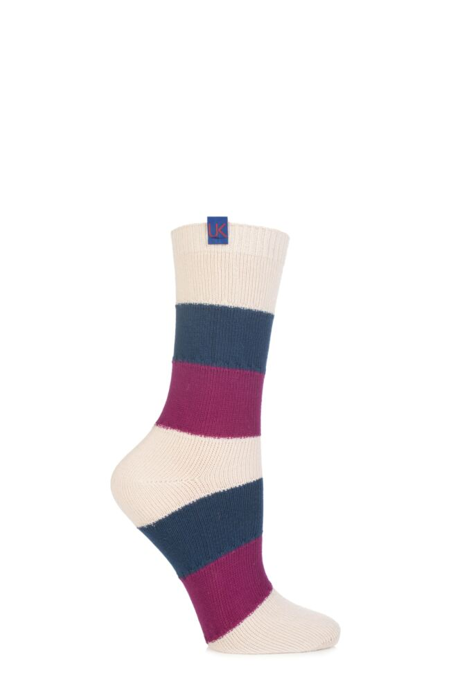 Ladies 1 Pair Urban Knit UK Made Stripey Socks 75% OFF