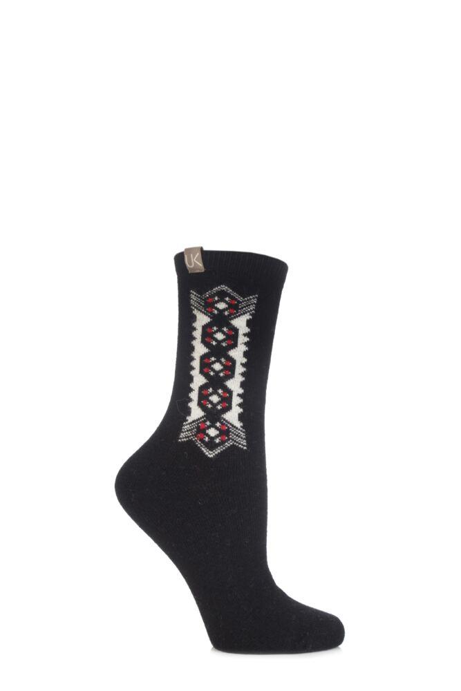 Ladies 1 Pair Urban Knit Floral Folk Lotus Ankle Socks 75% OFF
