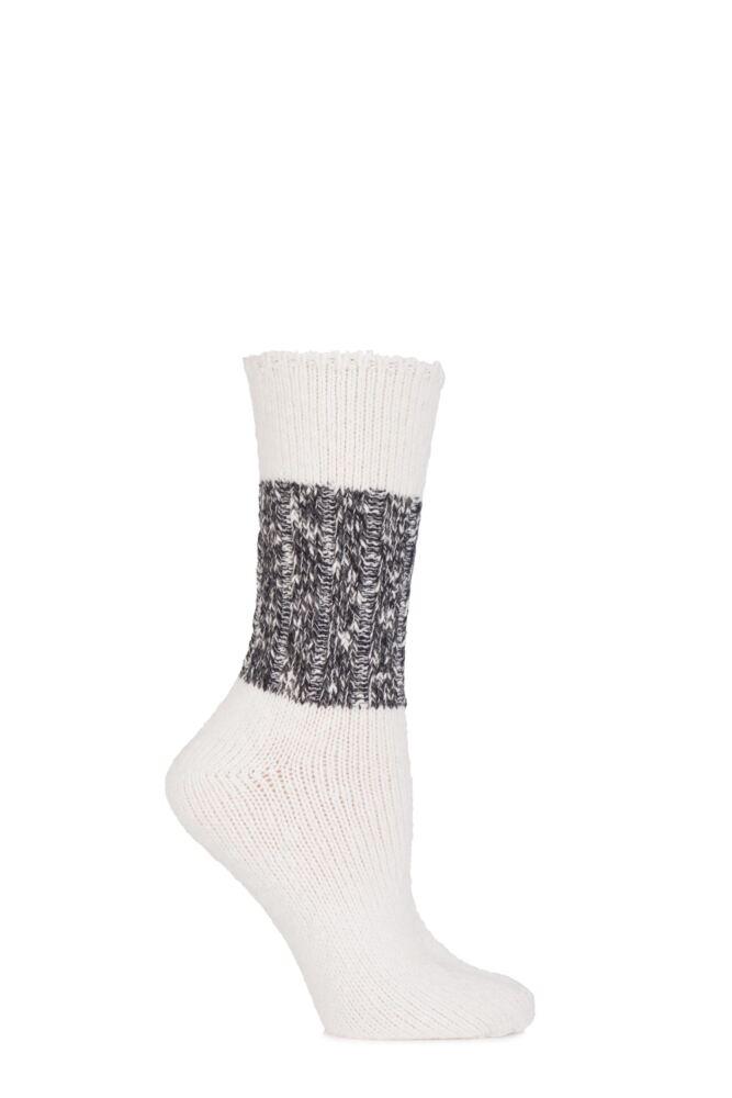 Ladies 1 Pair Urban Knit Block Striped and Ribbed Socks 75% OFF