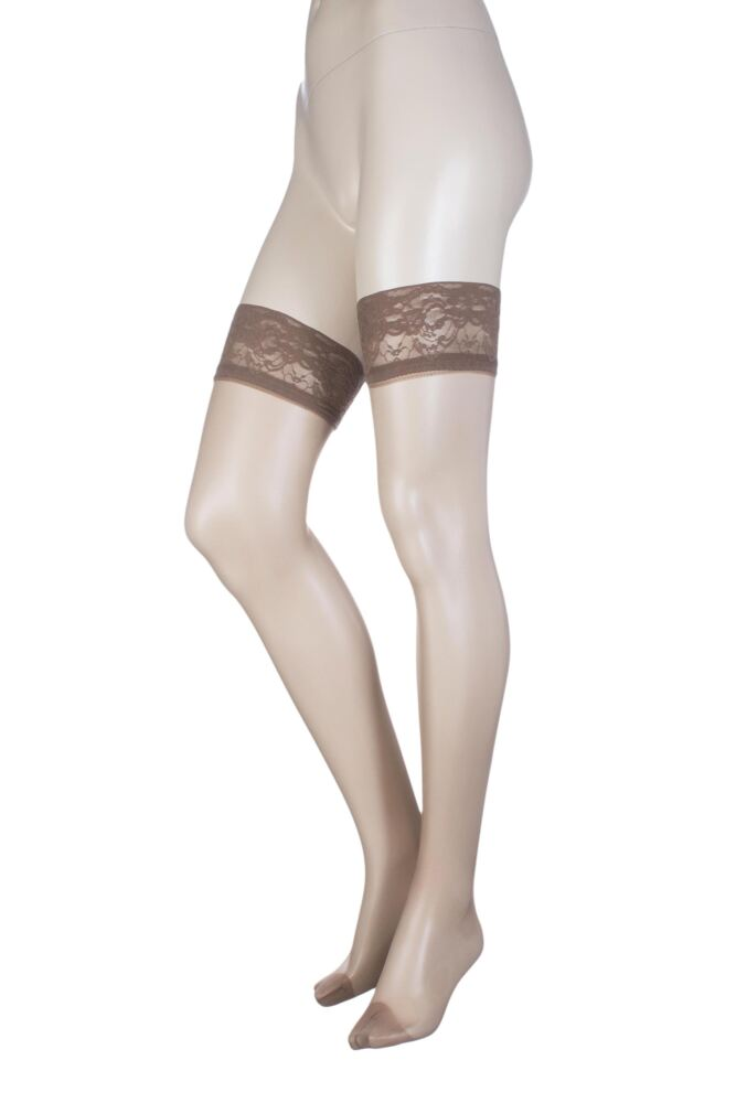 Ladies 1 Pair Oroblu Soriee 15 Denier Hold Ups With Lace Top