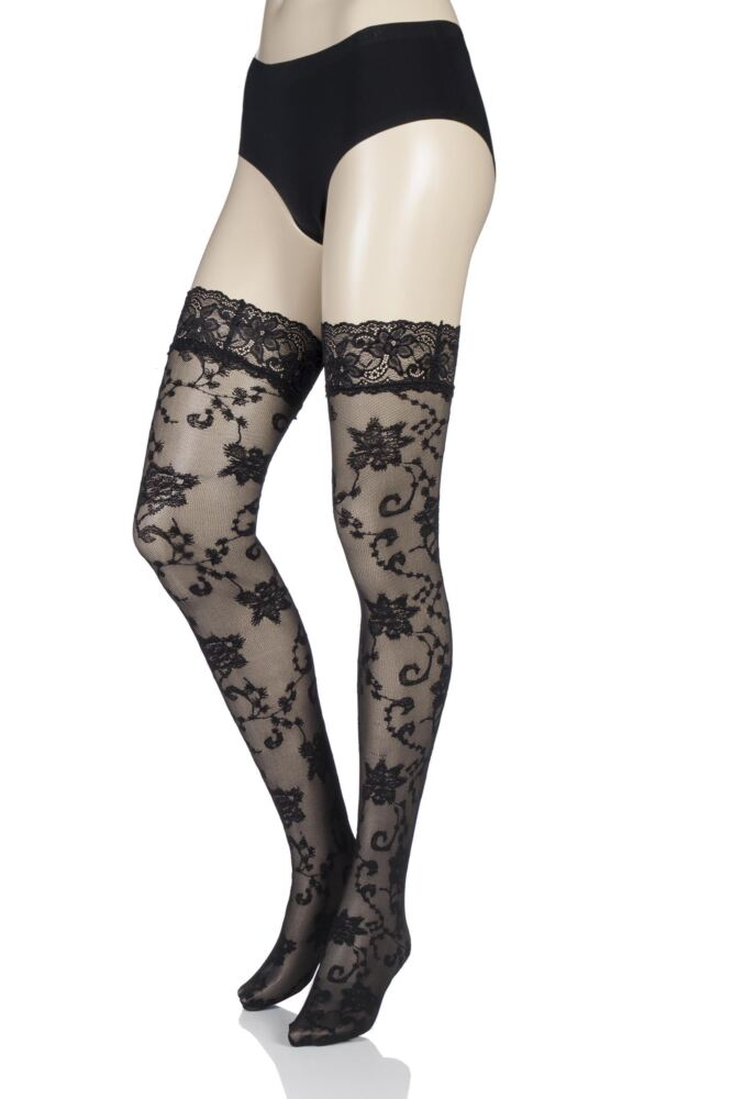 Ladies 1 Pair Oroblu Sofia Lace Floral Hold Ups