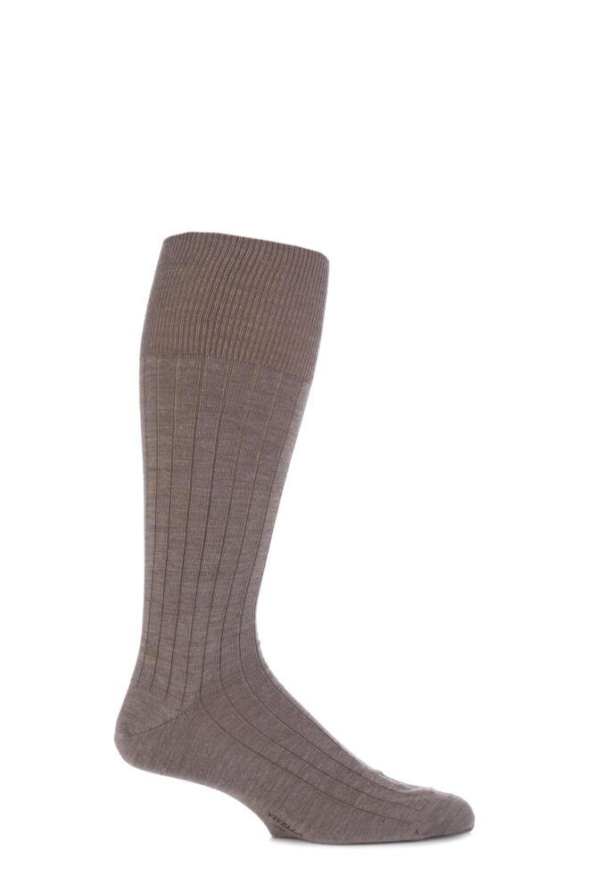 Mens 1 Pair Viyella Half Hose Wool Ribbed Socks With Hand Linked Toe