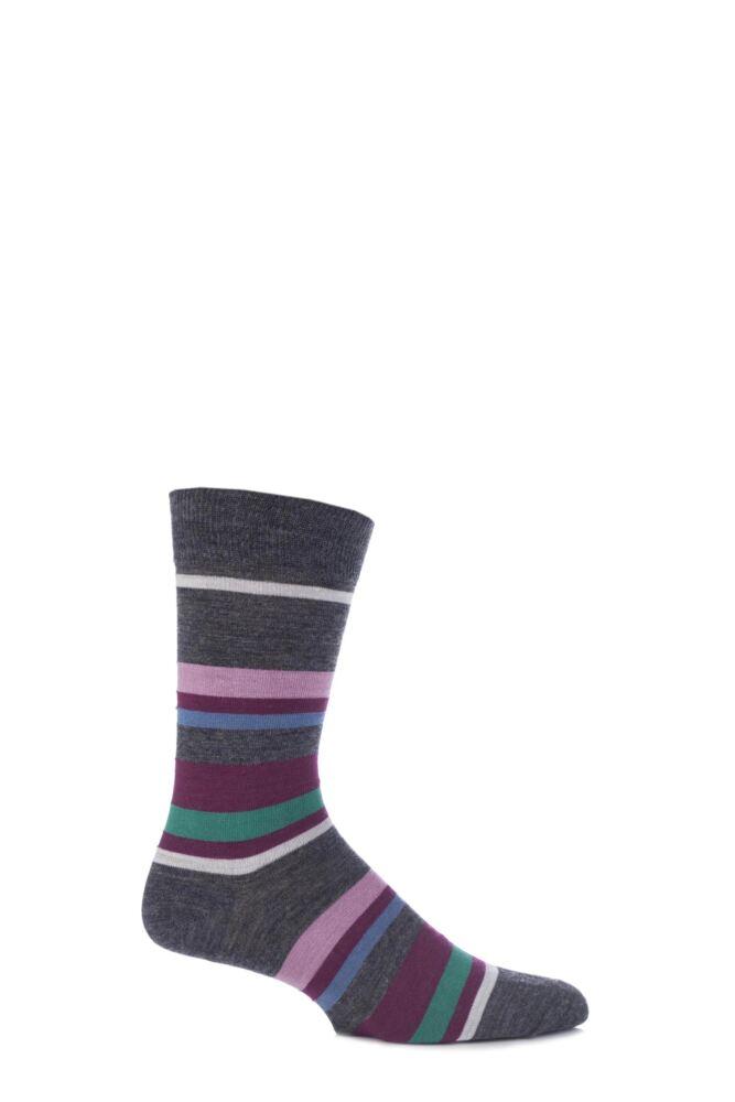 Mens 1 Pair Viyella Wool Multi Striped Socks with Hand Linked Toe 25% OFF
