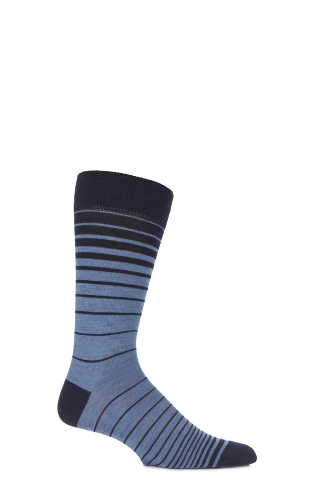 Mens 1 Pair Viyella Ombre Striped Wool Cotton Blend Socks