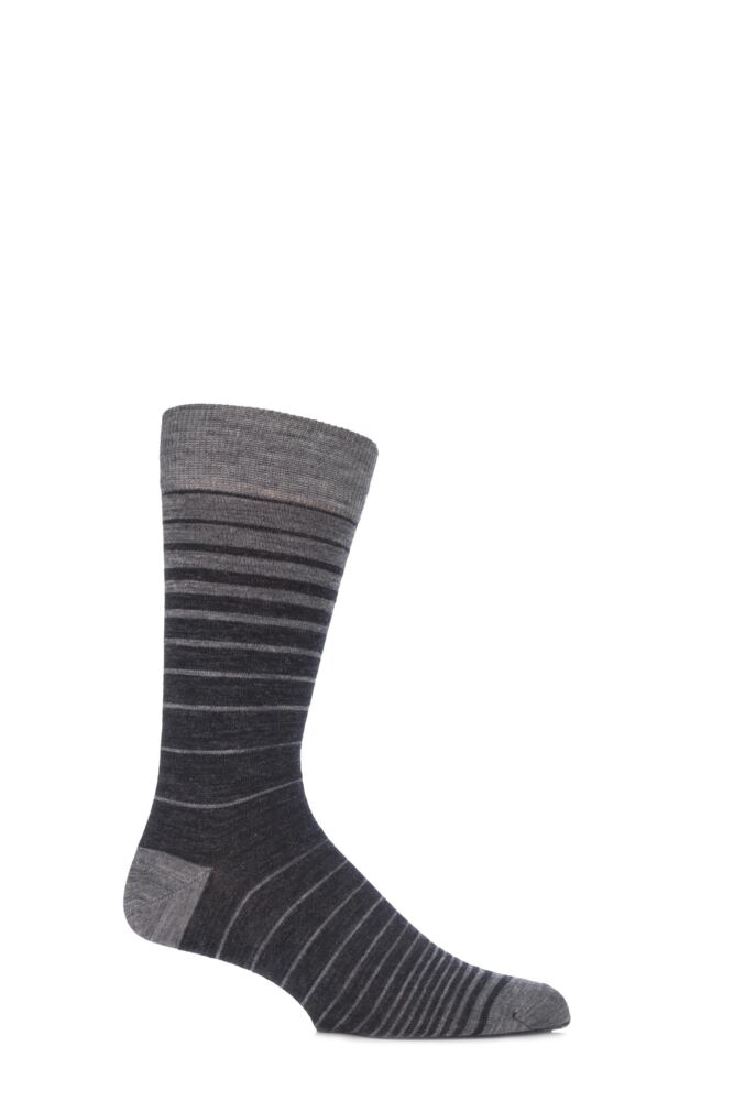 Mens 1 Pair Viyella Ombre Striped Wool Cotton Blend Socks 25% OFF
