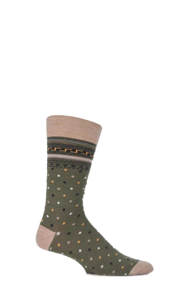 Mens 1 Pair Viyella Intarsia Design Wool Cotton Blend Socks
