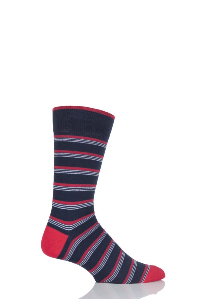 Mens 1 Pair Viyella Multi Striped Cotton Socks In Navy 25% OFF