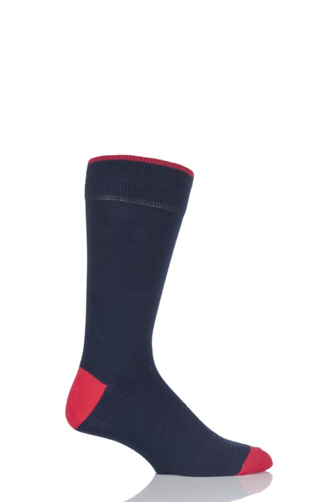 Mens 1 Pair Viyella Contrast Heel and Toe Cotton Socks In Navy