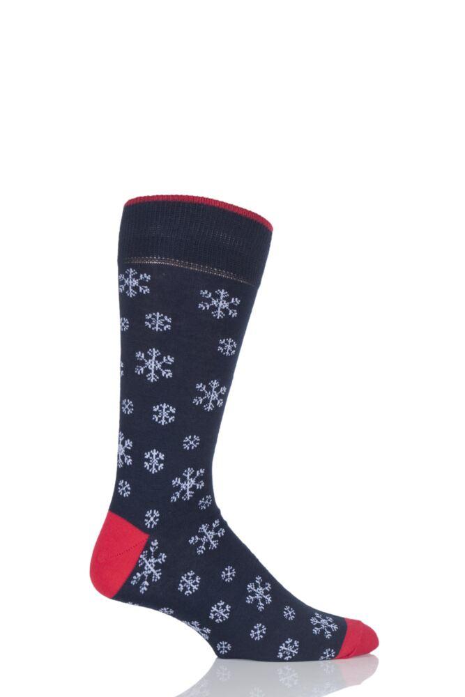 Mens 1 Pair Viyella Snowflake Design Cotton Socks