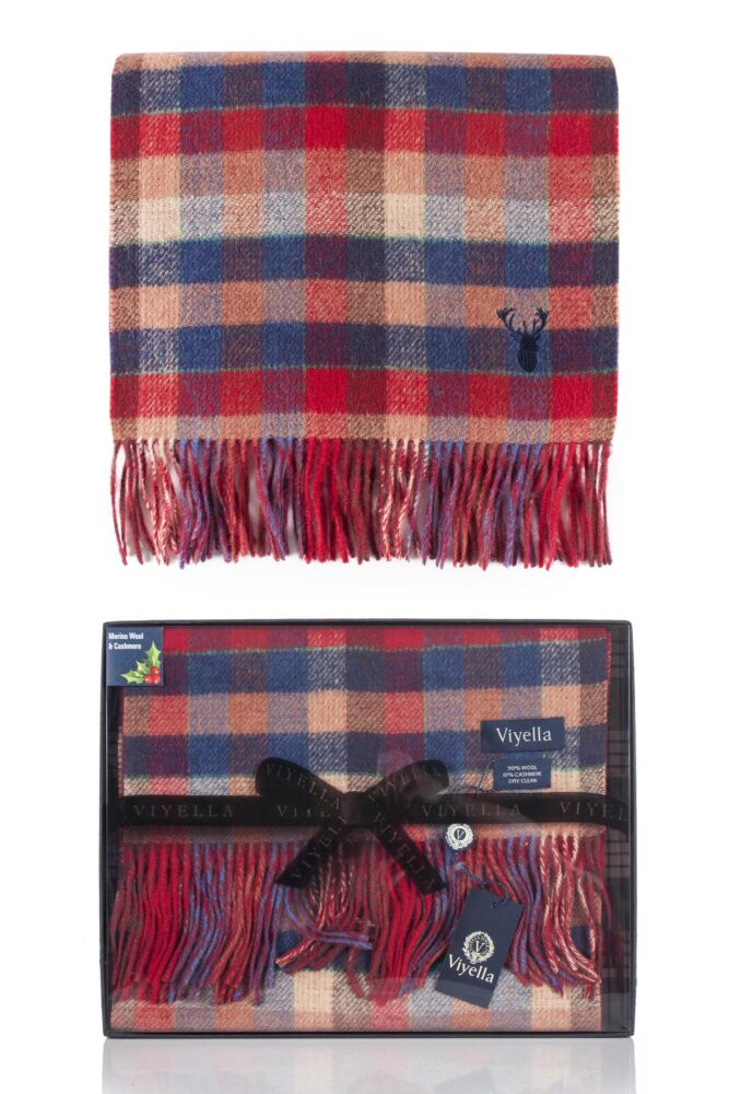 Mens 1 Pack Viyella Gift Boxed Wool Cashmere Blend Checked Scarf 25% OFF