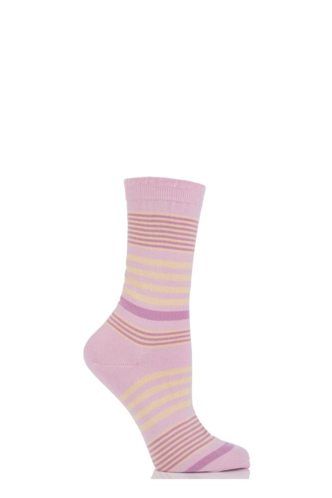 Ladies 1 Pair Pantherella Sea Island Cotton Honey 3 Colour Striped Socks with Frill Top 33% Off